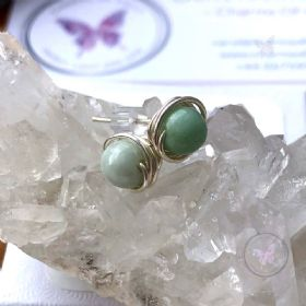 Jade Silver Wire Wrap Stud Earrings